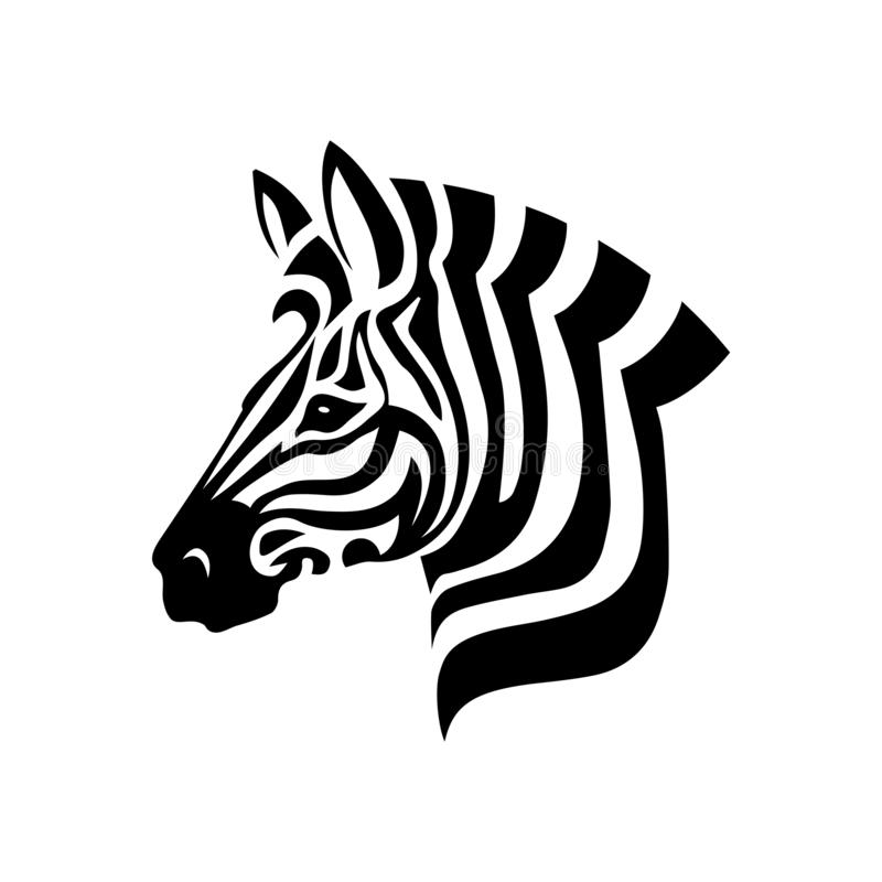Zebra Head on white background. A Vector Zebra Head logo on white background. Animal Stylized for your Graphic project royalty free illustration
