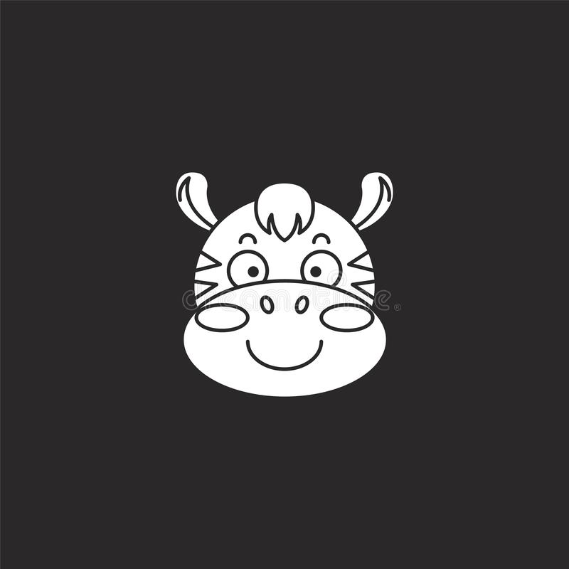 zebra icon. Filled zebra icon for website design and mobile, app development. zebra icon from filled animals collection isolated vector illustration