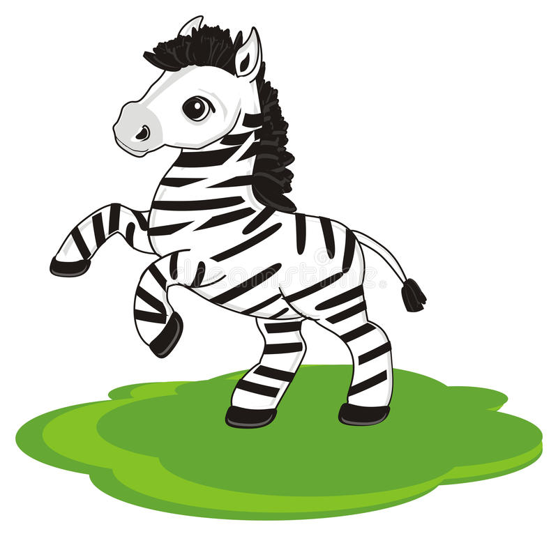 Zebra and lawn royalty free illustration