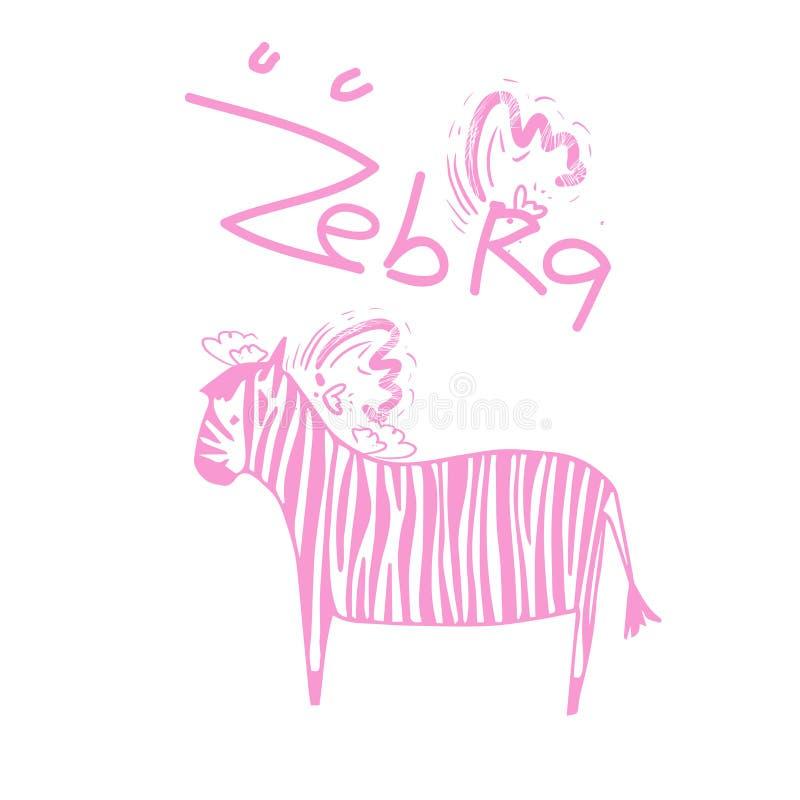 Zebra mit rosa Streifenflügeln, Liebe, Amor und rosa Herzen vektor abbildung