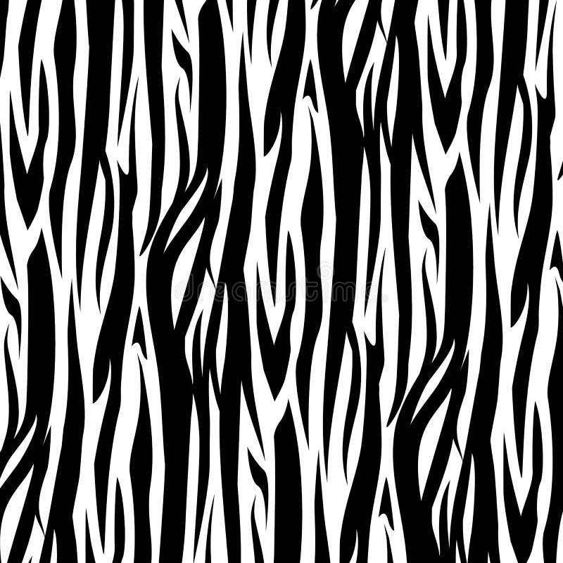 Zebra Paskuje Bezszwową Deseniową wektorową ilustrację czarny white ilustracji