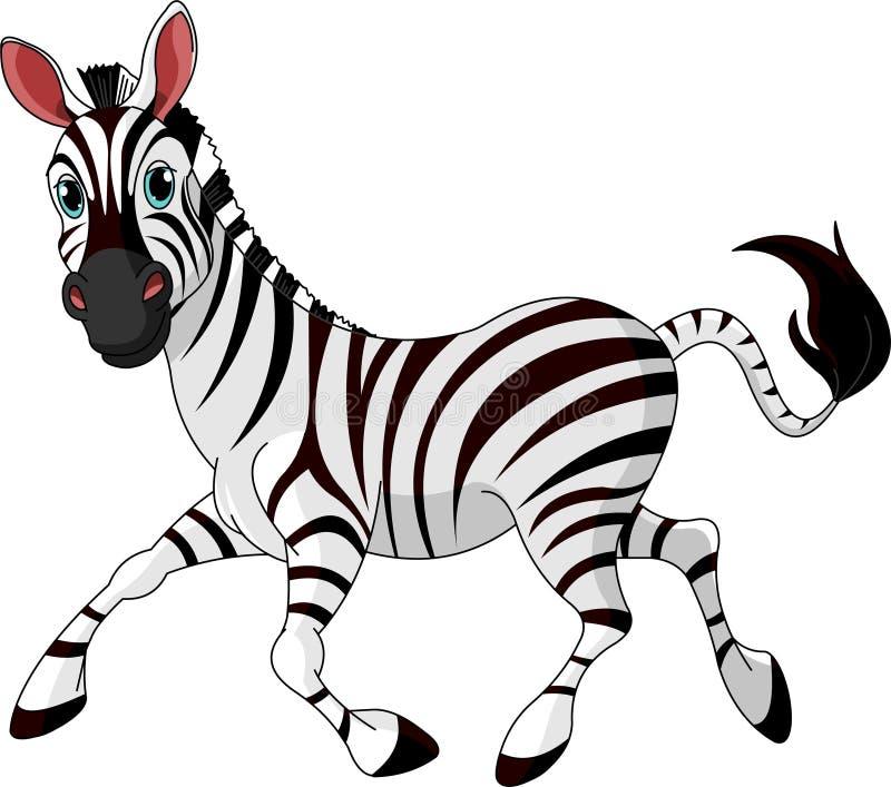 Zebra running engraçada ilustração do vetor