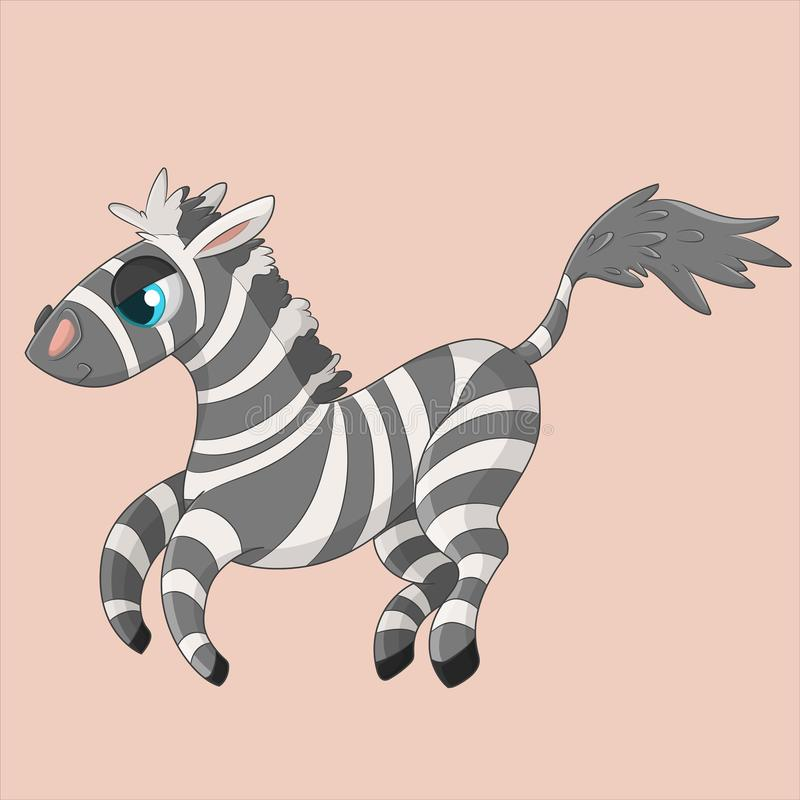 Zebra Sassy que salta no fundo cor-de-rosa ilustração stock