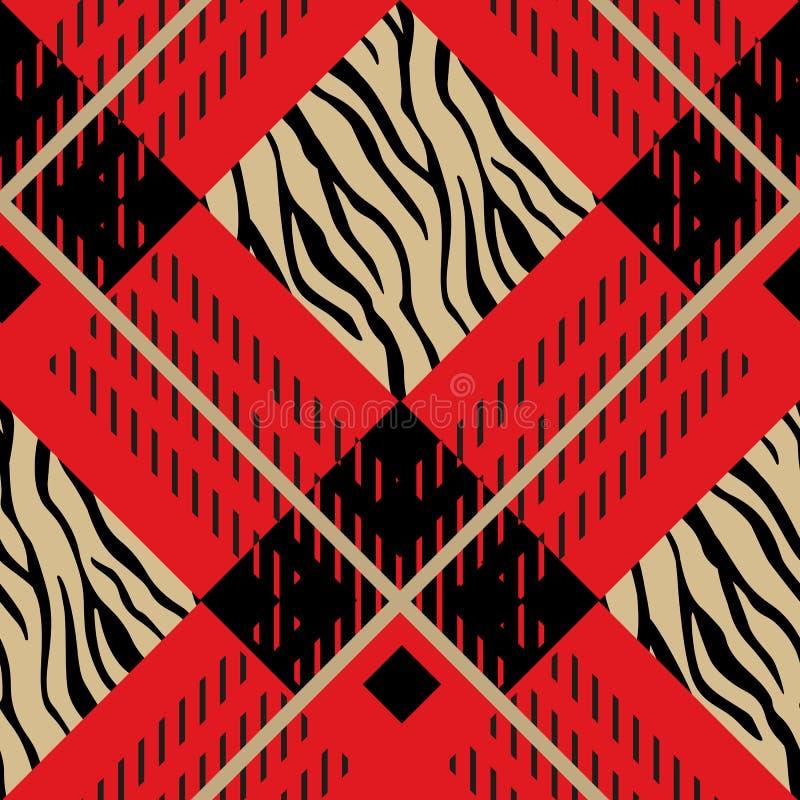 Zebra-Schottenstoff, Plaidmuster-Vektorhintergrund Völker Retro- Schottenstoffmuster Modeillustration, Vektor Tapete Weihnachten lizenzfreie abbildung