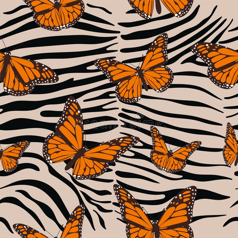 Zebra seamless pattern. Animal print with butterflies. Baroque trend. Vector illustration royalty free illustration