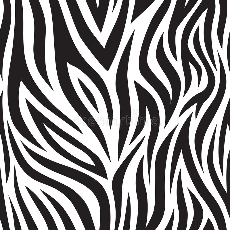 Zebra seamless pattern. Black and white tiger stripes. Popular texture. royalty free illustration