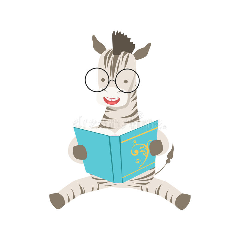 Zebra Smiling Bookworm Zoo Character Wearing Glasses And Reading A Book Cartoon Illustration Part Of Animals In Library vector illustration