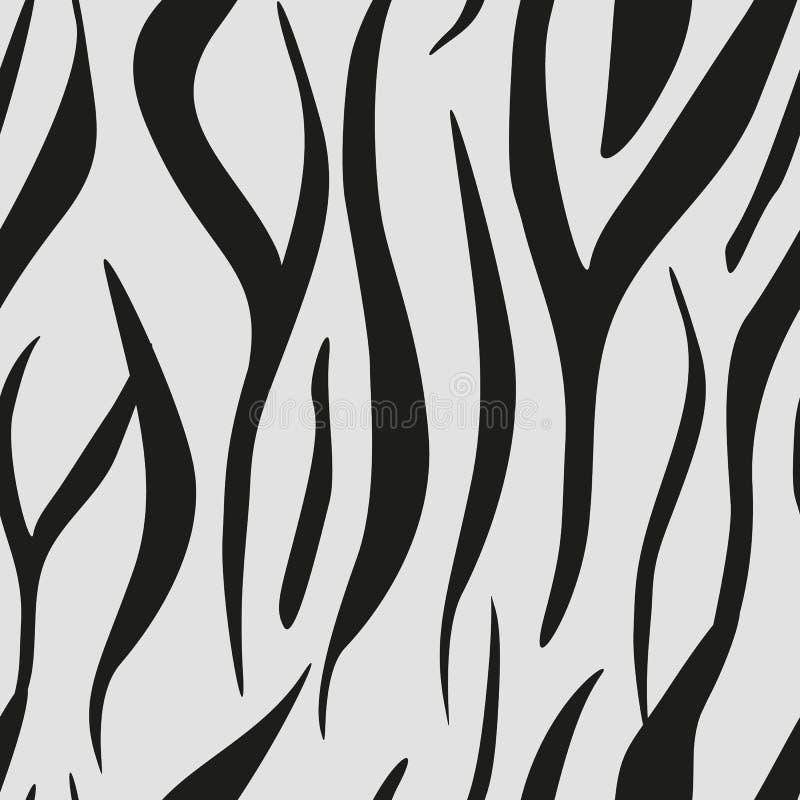 Zebra streift nahtloses Muster Zebradruck, Tierhaut, Tigerstreifen, abstraktes Muster, Linie Hintergrund, Gewebe vektor abbildung