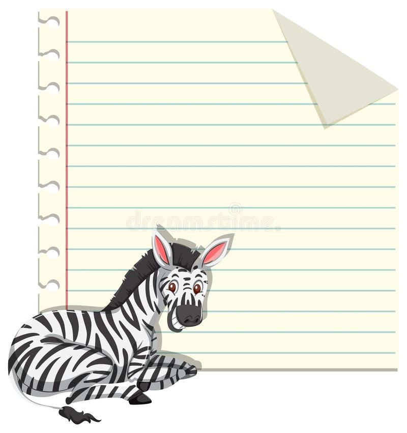 Zebra sul modello della nota illustrazione di stock