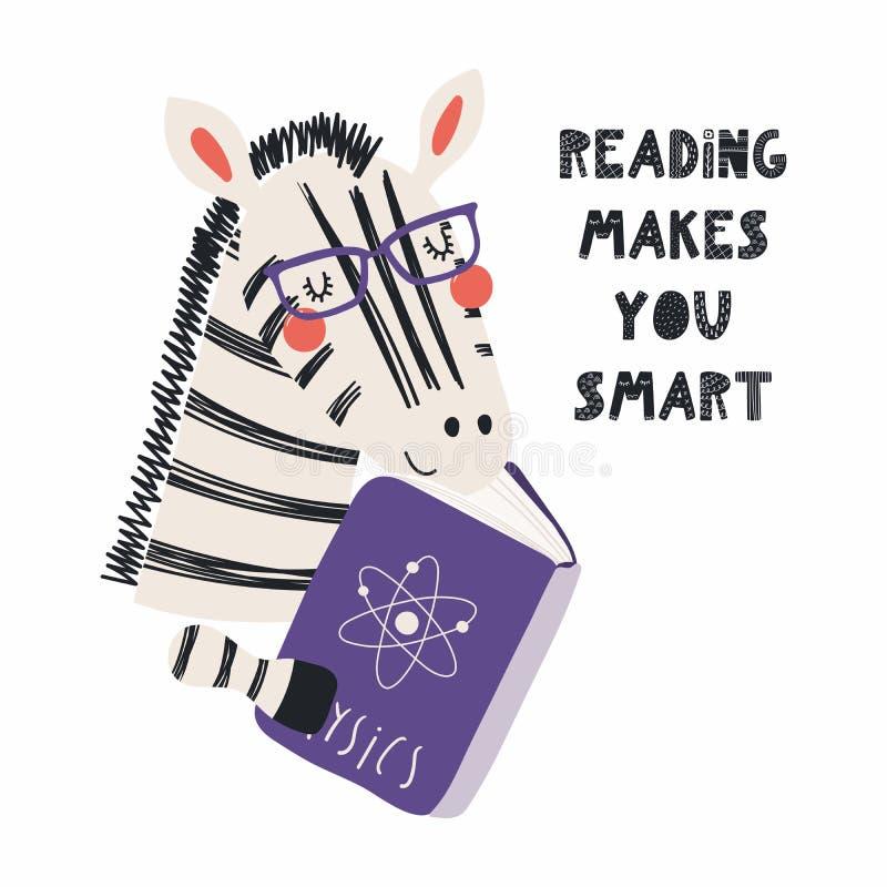 Zebra sveglia che legge un libro illustrazione vettoriale