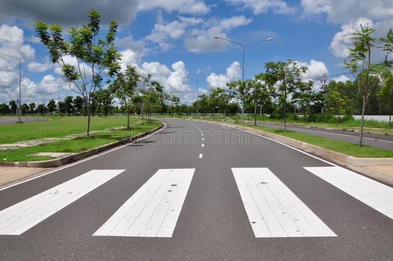 Zebra traffic walk way sign. As sky stock photo