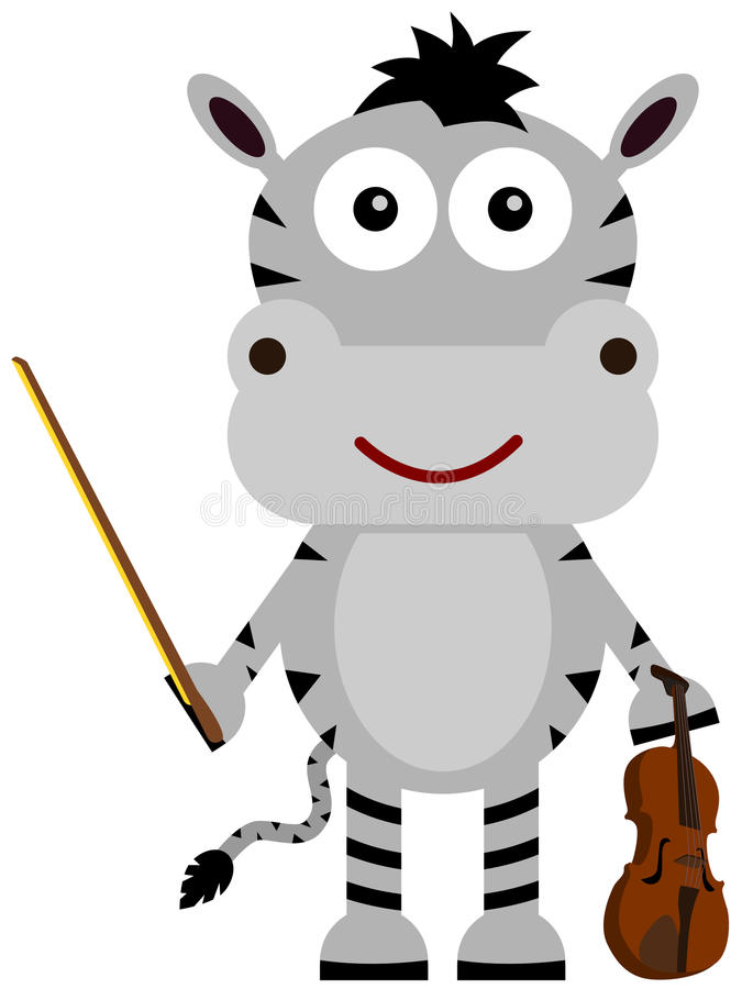 Zebra violinist. A cute illustration of a zebra as a violinist vector illustration