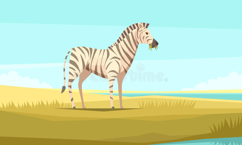 Zebra In The Wild Composition vector illustration