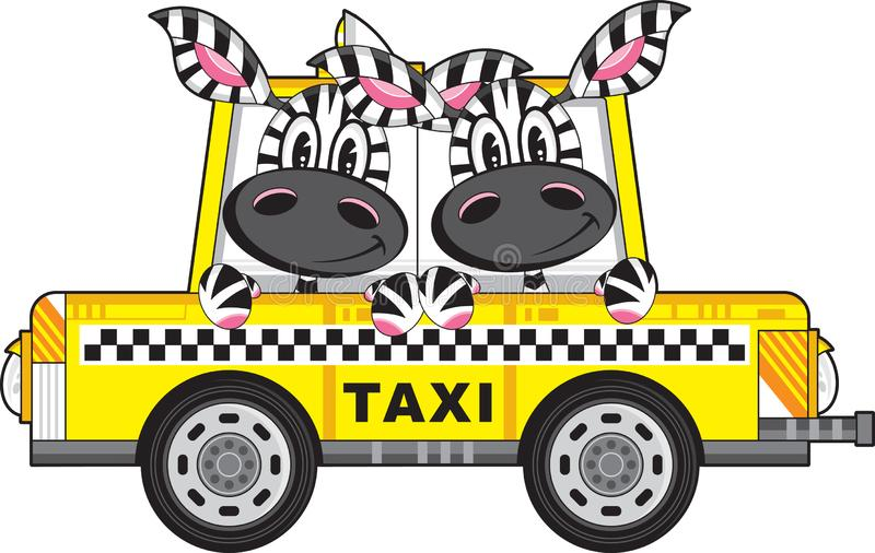 Zebra in Yellow Taxi Cab. Cute Cartoon Zebra in Yellow Taxi Cab with Chequered Stripe Illustration by Mark Murphy Creative - Energy + Creativity = Innovation royalty free illustration