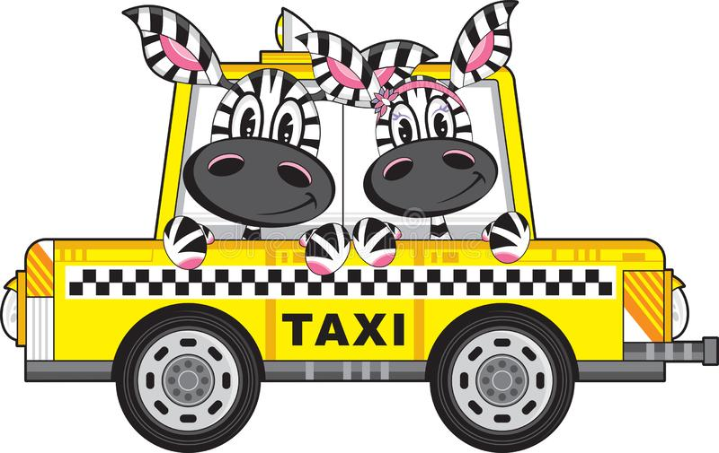 Zebra in Yellow Taxi Cab. Cute Cartoon Zebra Driver and Passenger in Yellow Taxi Cab with Chequered Stripe Illustration by Mark Murphy Creative - Energy + vector illustration