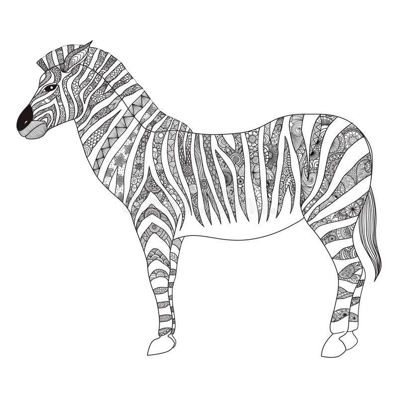 Zebra zentangle stylized for T- Shirt design, sign, poster, coloring book for adult and design element royalty free illustration