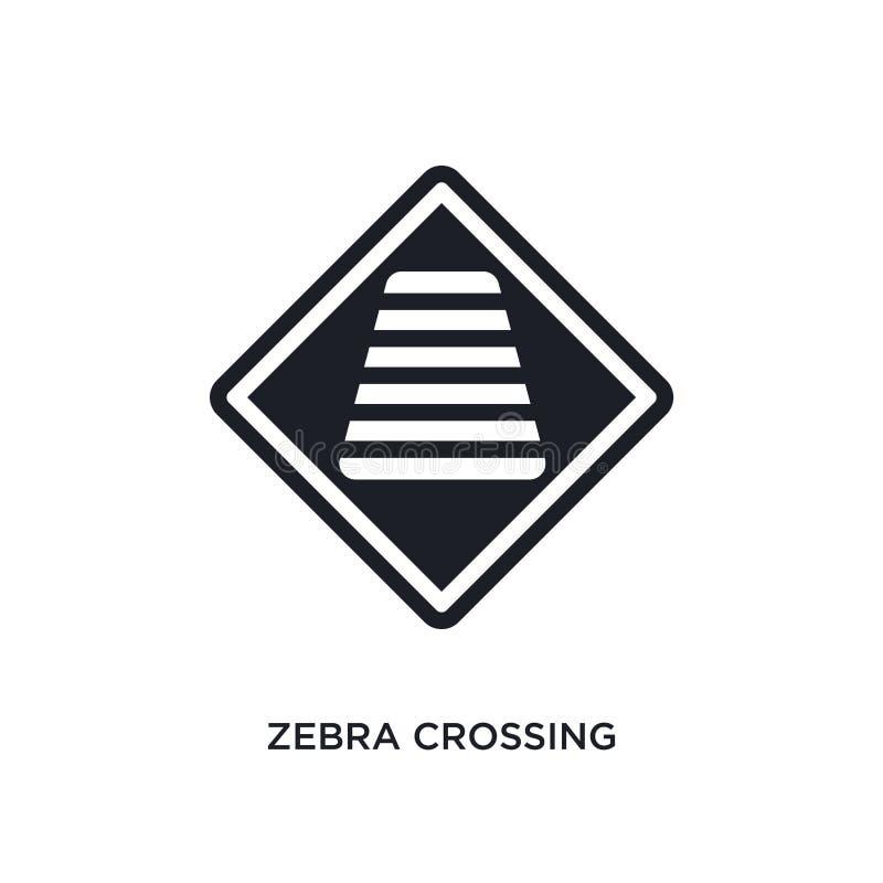 zebramarkering isolerad symbol enkel beståndsdelillustration från symboler för begrepp för trafiktecken zebramarkering redigerbar royaltyfri illustrationer