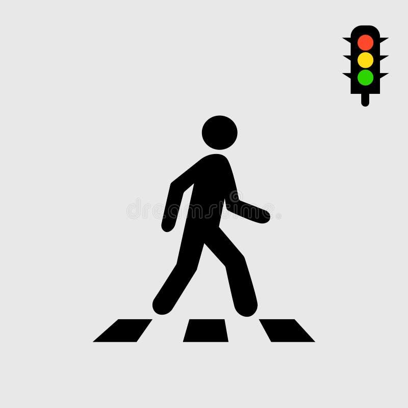 Zebrapad en voetganger Grijze achtergrond Vector illustratie vector illustratie
