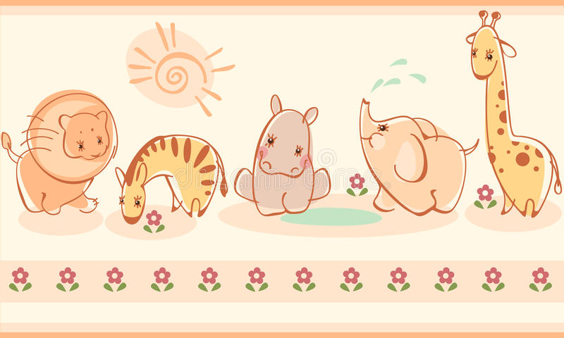 Zebras, Giraffen, Elefanten, Löwen, Flusspferde vektor abbildung