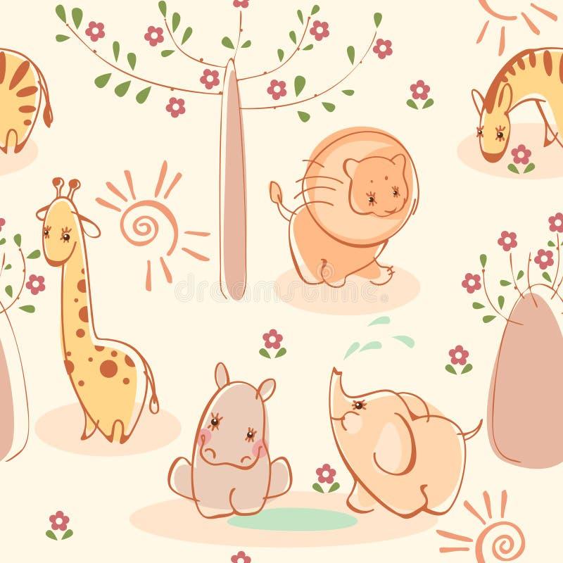 Zebras, giraffes, elefantes, leões, hipopótamos. ilustração royalty free