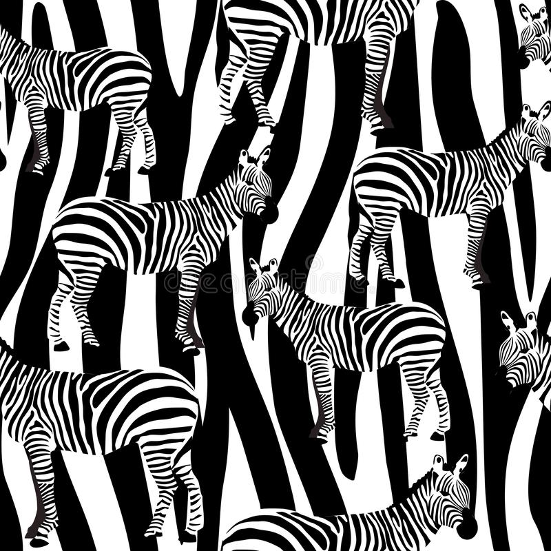 Zebra Seamless Surface Pattern, Black and White Zebras Repeat Pattern for Textile Design, Fabric Printing, Stationary, Packaging, royalty free illustration