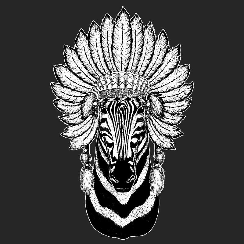 Zebry boho pióropuszu Końskiego Tradycyjnego etnicznego indyjskiego Plemiennego szamanu kapeluszowy Ceremonialny element ilustracja wektor