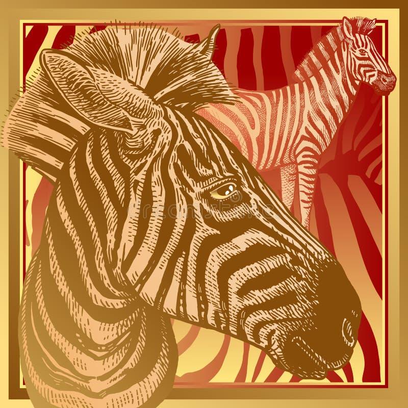 Zebry i futerka lampasy Szablon dla projekt poduszki lub szalika Bestia styl ilustracji
