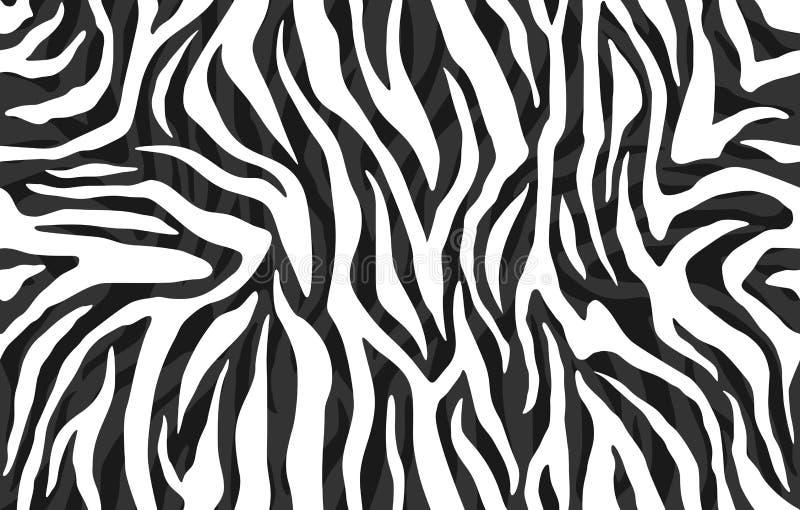 Zebry skóra, lampasa wzór Zwierzęcy druk, czarny i biały tekstura, szczegółowa i realistyczna royalty ilustracja