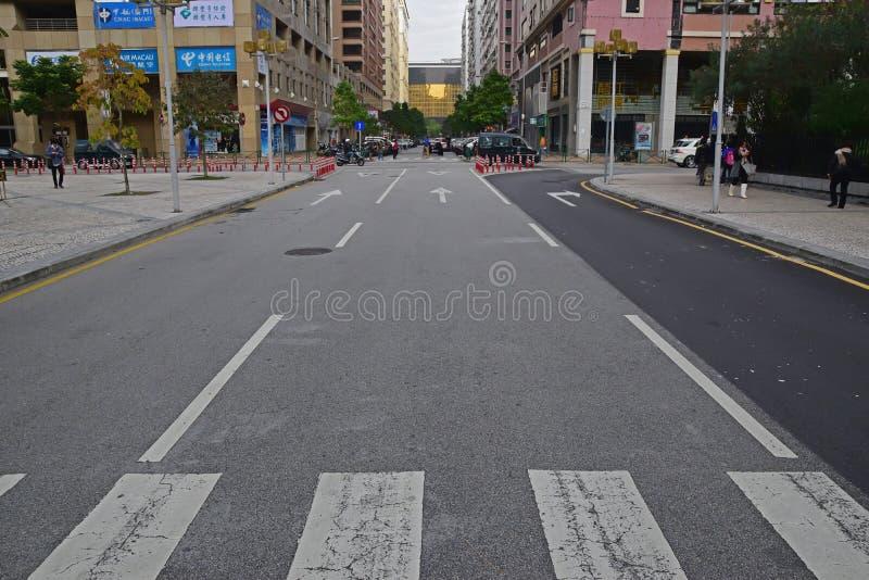 Zebry skrzyżowanie duża droga w Macau, Chiny obraz royalty free