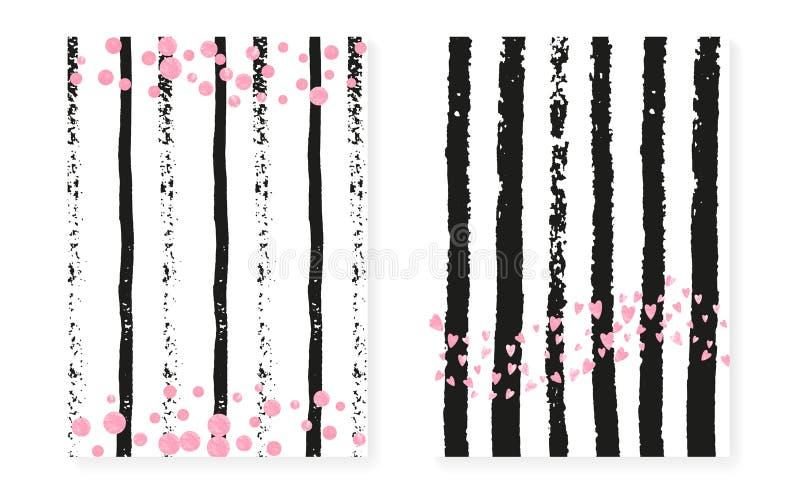Zecchini rosa di scintillio con i punti Nozze e invita nuziale della doccia illustrazione vettoriale