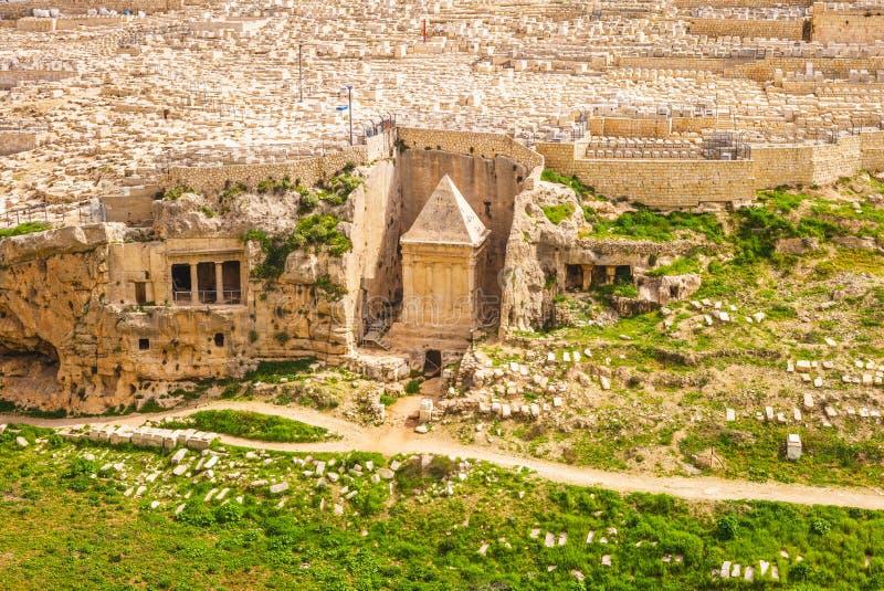 Zechariah grobowiec w Kidron dolinie, Jerozolima, Izrael obraz royalty free