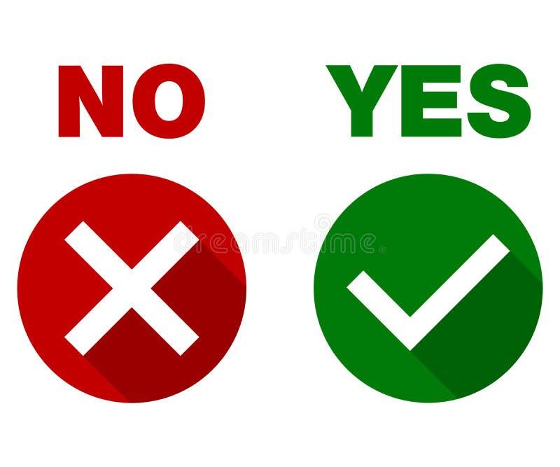 Zecken- und Kreuzzeichen Ja und nein, grünes Prüfzeichen OKAY und rote x-Ikonen, lokalisiert auf weißem Hintergrund vektor abbildung