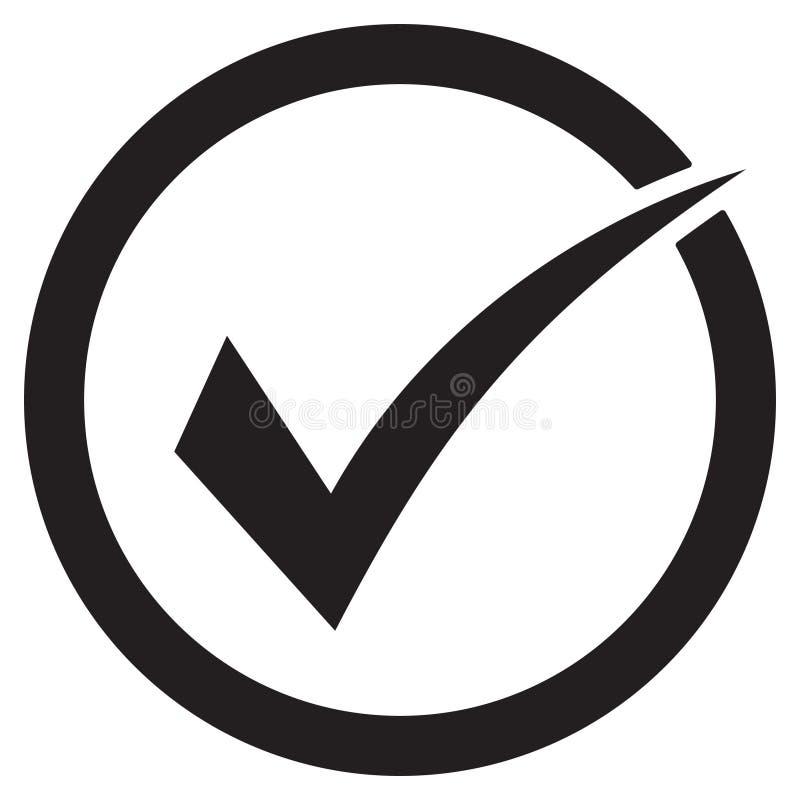 Zeckenikonen-Vektorsymbol, das Prüfzeichen, das auf weißem Hintergrund lokalisiert wurde, überprüfte Ikone oder korrektes auserle lizenzfreie abbildung