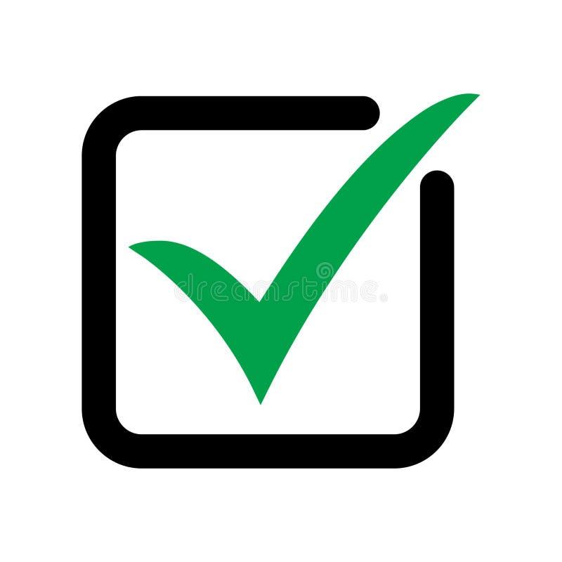 Zeckenikonen-Vektorsymbol, das Prüfzeichen, das auf weißem Hintergrund lokalisiert wurde, überprüfte Ikone oder korrektes auserle stock abbildung