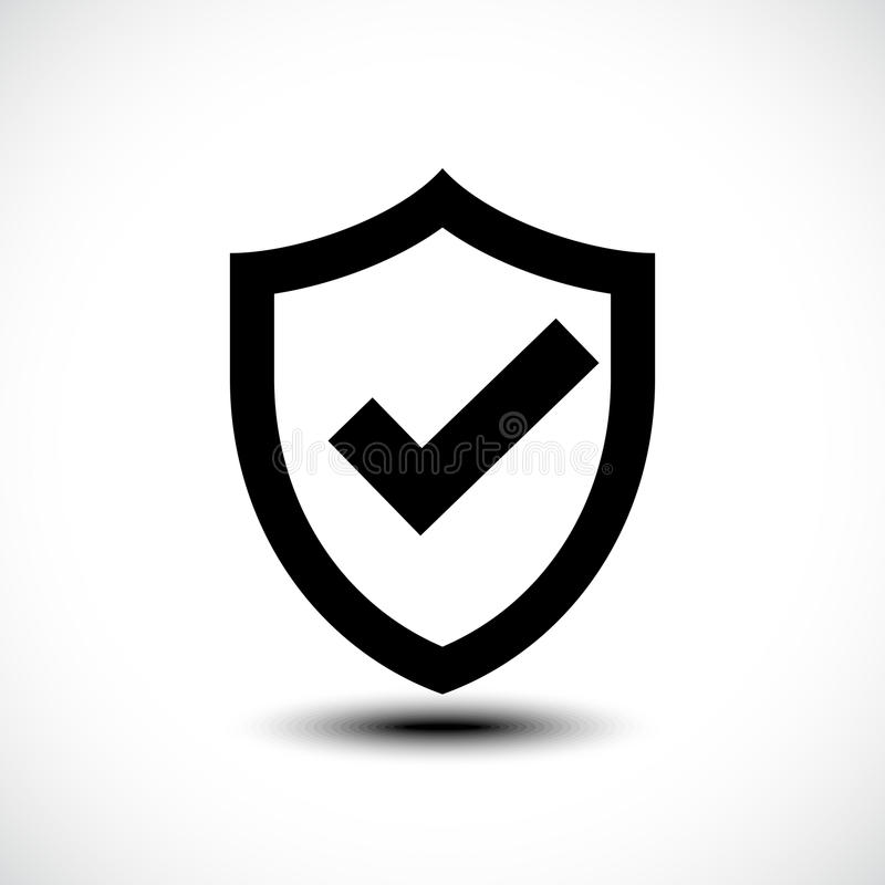 Zeckenschildsicherheits-Ikonenillustration lizenzfreies stockfoto