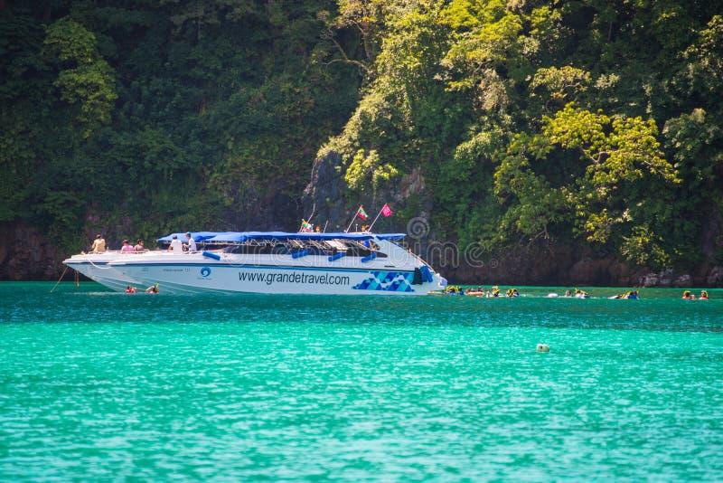 Zedetkyikyun海岛,缅甸- 2017年10月25日:速度小船tra 库存照片