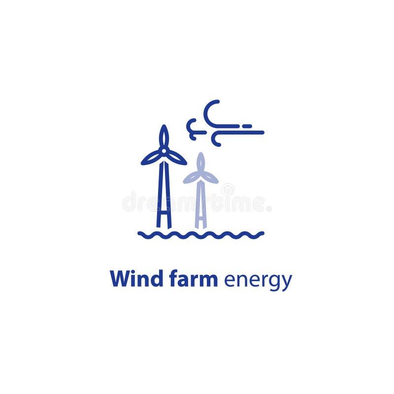 Zee de lijnpictogram van windturbines, het groene embleem van het energieconcept stock illustratie