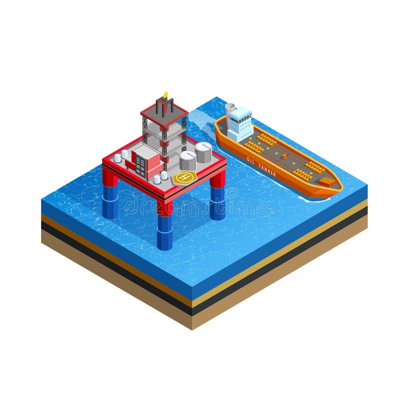Zee het Platform Isometrisch Beeld van de olieindustrie vector illustratie