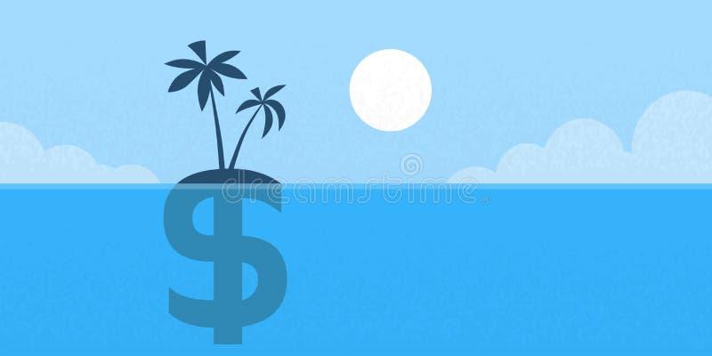 Zee Vlak het Eilandconcept van het dollarteken vector illustratie
