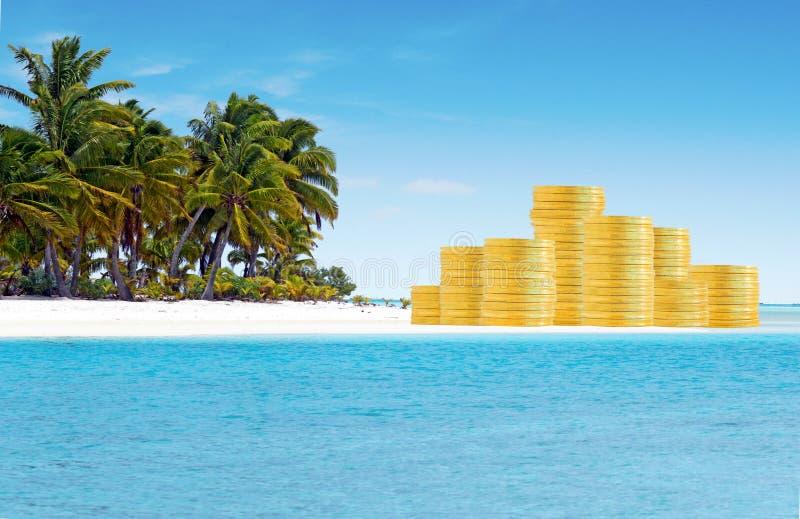 Zeebankwezen en Belastingparadijzenconcept royalty-vrije stock afbeeldingen