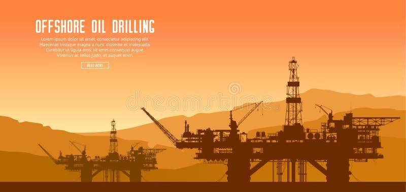 Zeeboorplatforms bij zonsondergang stock illustratie