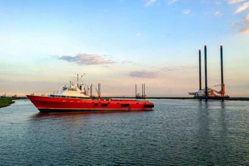 Zeecrewboat royalty-vrije stock foto