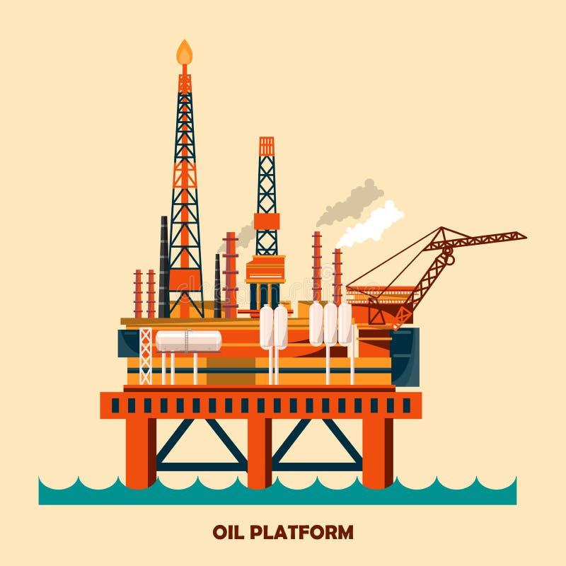 Zeedie het ontwerpconcept van het olieplatform met aardolie wordt geplaatst Helihaven, kranen, boortoren, schilkolom, reddingsboo stock illustratie