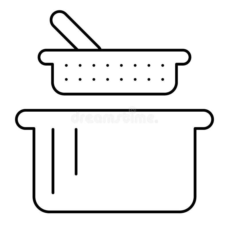 Zeef en pan dun lijnpictogram Vergiet en braadpan vectordieillustratie op wit wordt geïsoleerd De stijl van het keukengereioverzi royalty-vrije illustratie