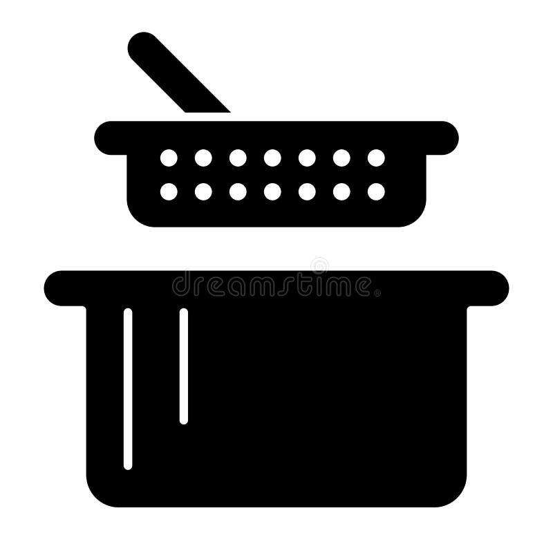 Zeef en pan stevig pictogram Vergiet en braadpan vectordieillustratie op wit wordt geïsoleerd Het ontwerp van de keukengerei glyp royalty-vrije illustratie