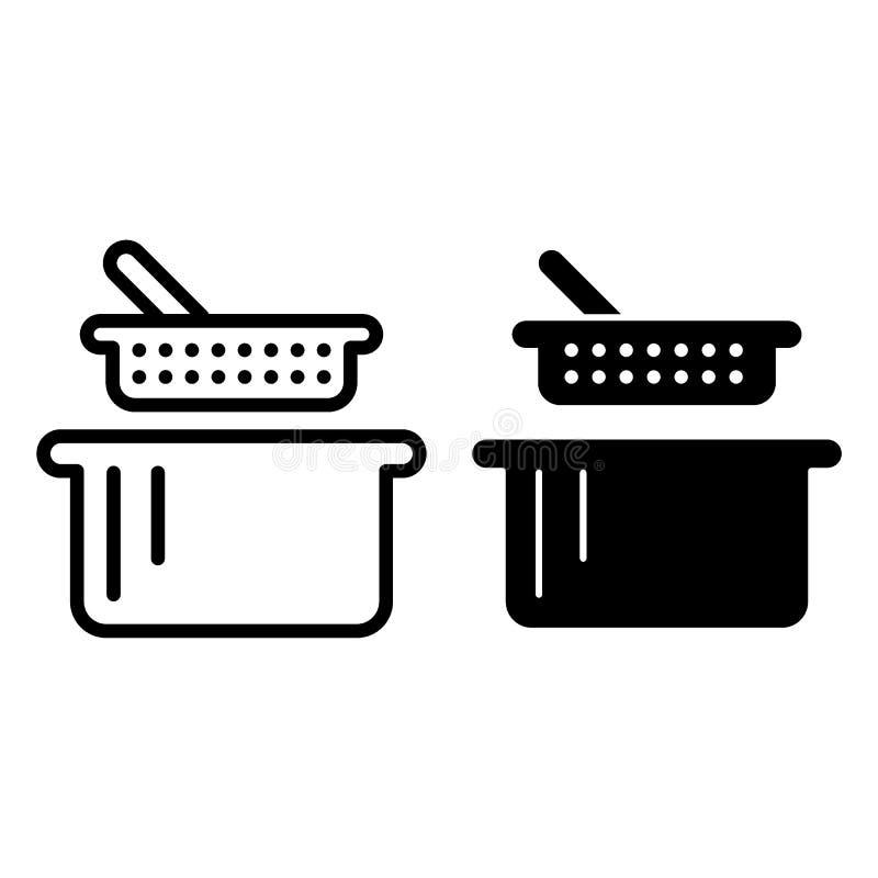 Zeef en panlijn en glyph pictogram Vergiet en braadpan vectordieillustratie op wit wordt geïsoleerd Keukengereioverzicht stock illustratie
