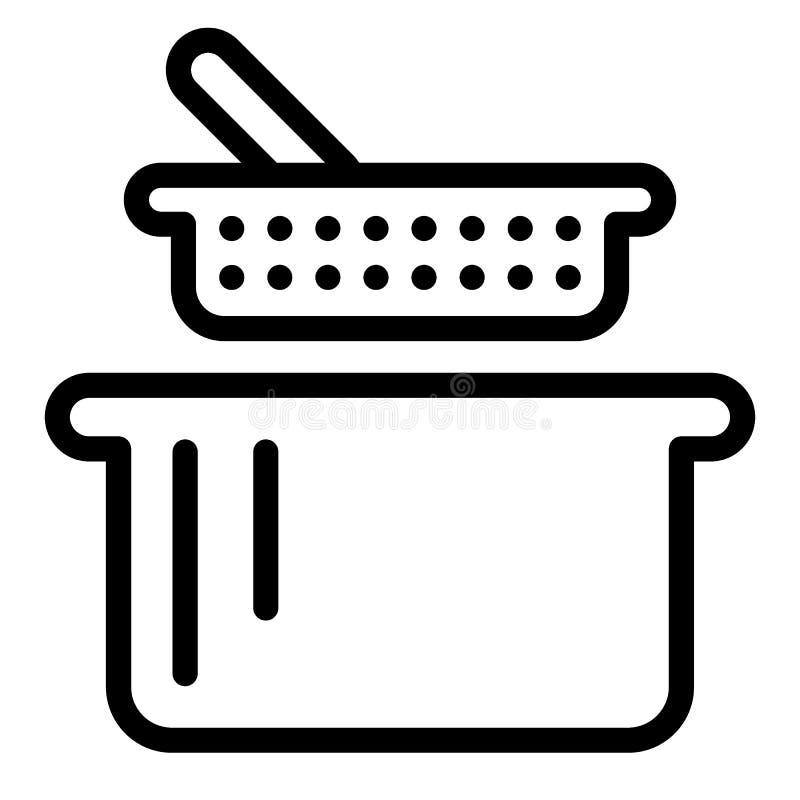 Zeef en panlijnpictogram Vergiet en braadpan vectordieillustratie op wit wordt geïsoleerd De stijlontwerp van het keukengereiover stock illustratie