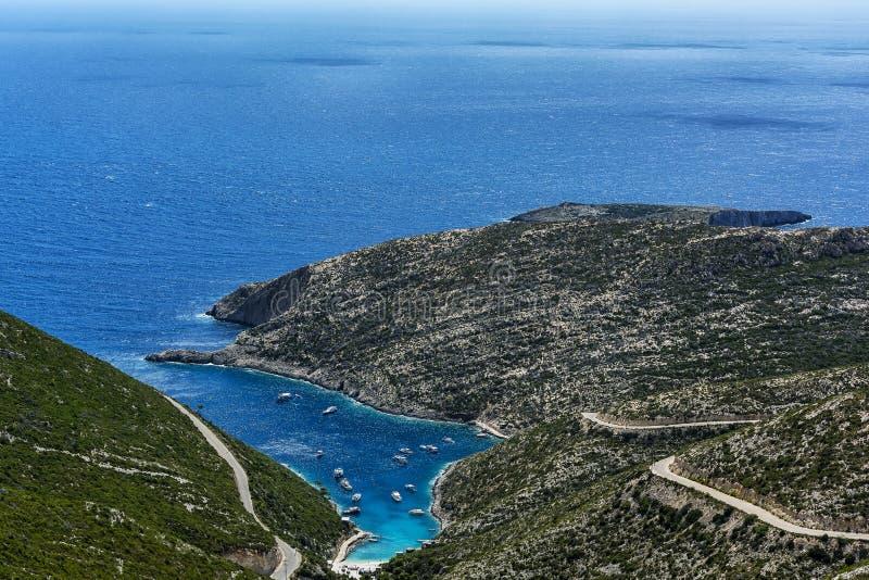 Zeegezicht Baai porto-Vromi op het Eiland Zakynthos Griekenland royalty-vrije stock fotografie