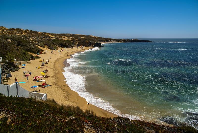Zeegezicht bij Vila-nova DE Milfontes, Portugal stock afbeeldingen