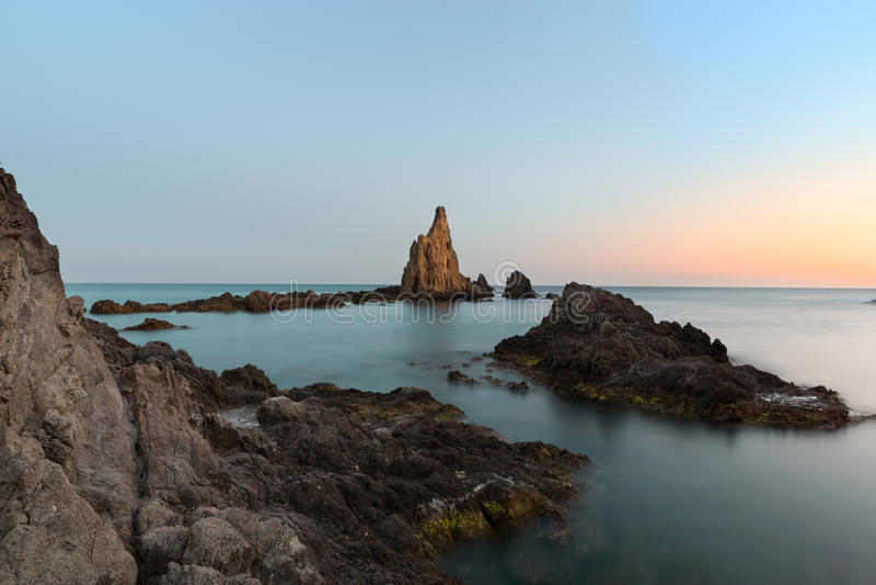 Zeegezicht in Cabo del Gata, Almeria, Spanje stock afbeeldingen